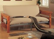 wooden  storage arm and metal body futon